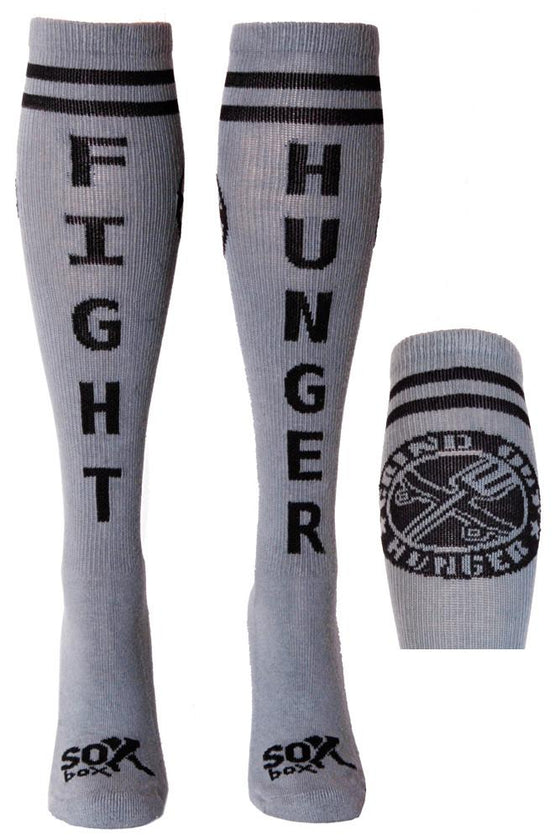 Fight Hunger Grey Athletic Knee High Socks- The Sox Box