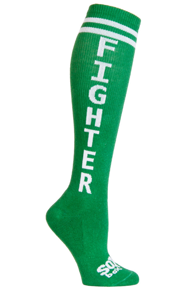 Fighter Green Athletic Knee High Socks- The Sox Box