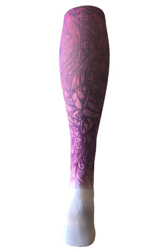 Floral Tattoo Purple Novelty Knee High Socks- The Sox Box