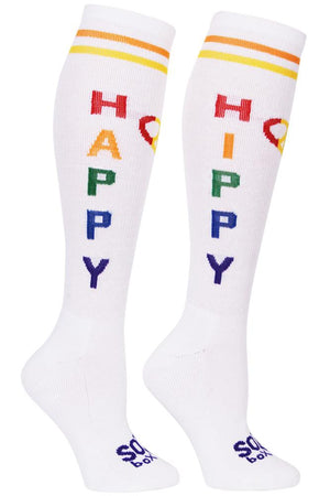 Happy Hippy White Athletic Knee High Socks- The Sox Box