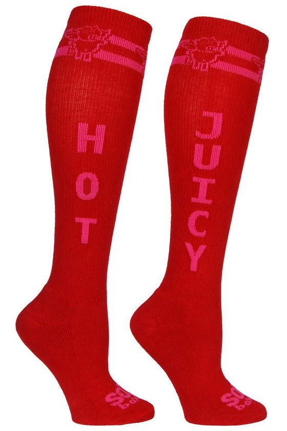 Hot & Juicy Red Athletic Knee High Socks- The Sox Box