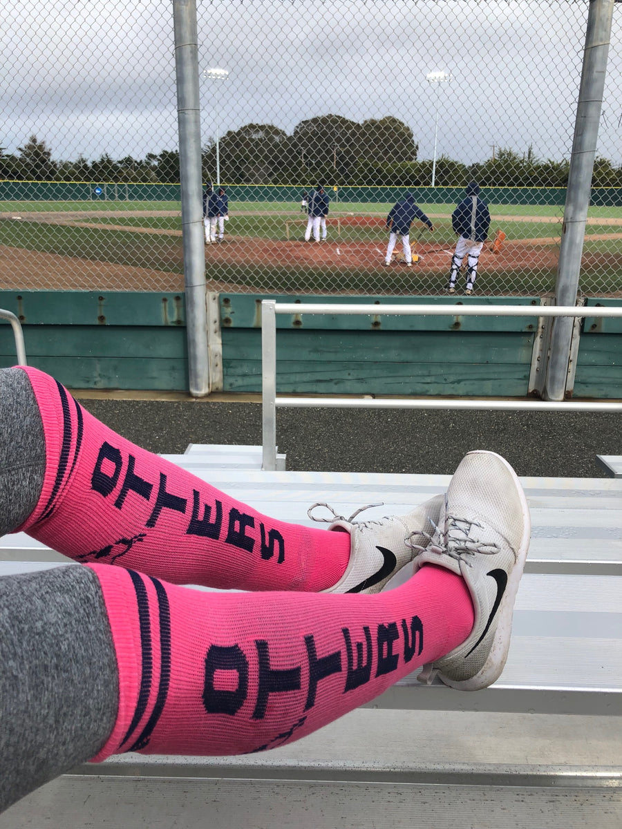 CSUMB Otters Women's Pink Athletic Knee High Socks- The Sox Box