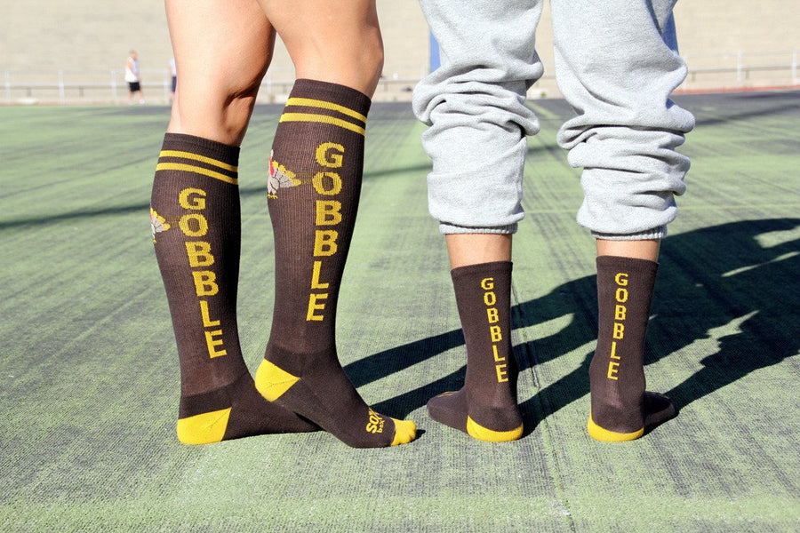 Gobble Gobble Brown Crew Socks- The Sox Box