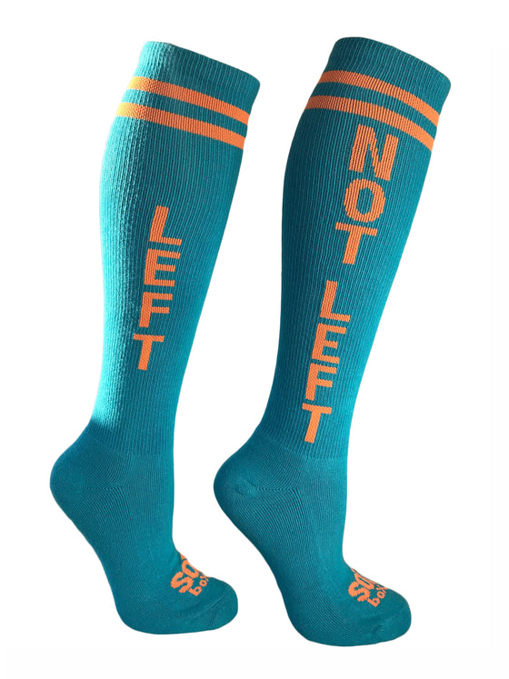 Left Not Left Turquoise Orange Crazy Knee High Sport Socks - The Sox Box