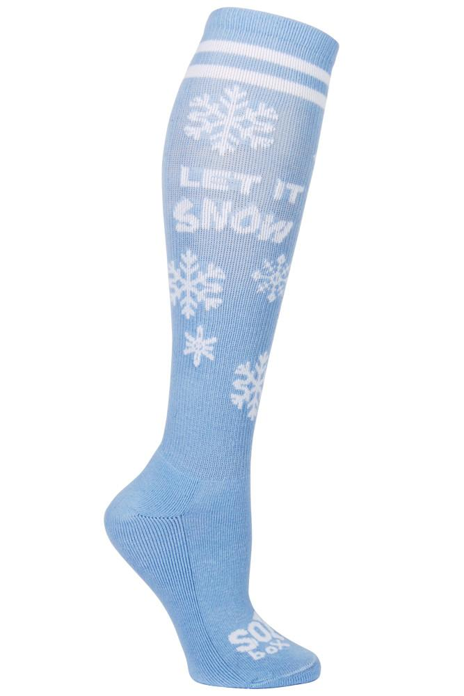 Let It Snow Blue Kids Athletic Knee High Socks- The Sox Box