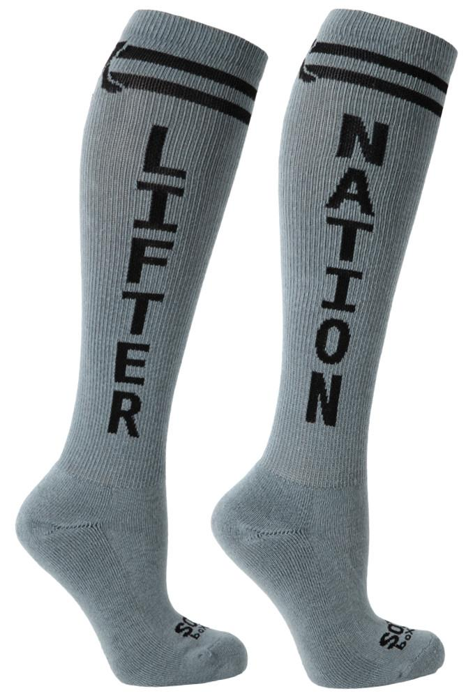 Lifter Nation Grey Athletic Knee High Socks- The Sox Box