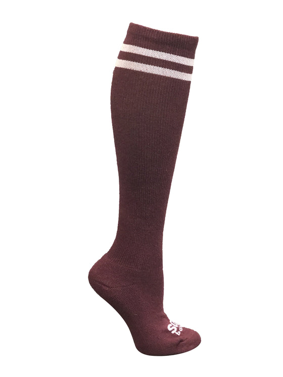 Maroon/White Athletic Knee High Socks- The Sox Box