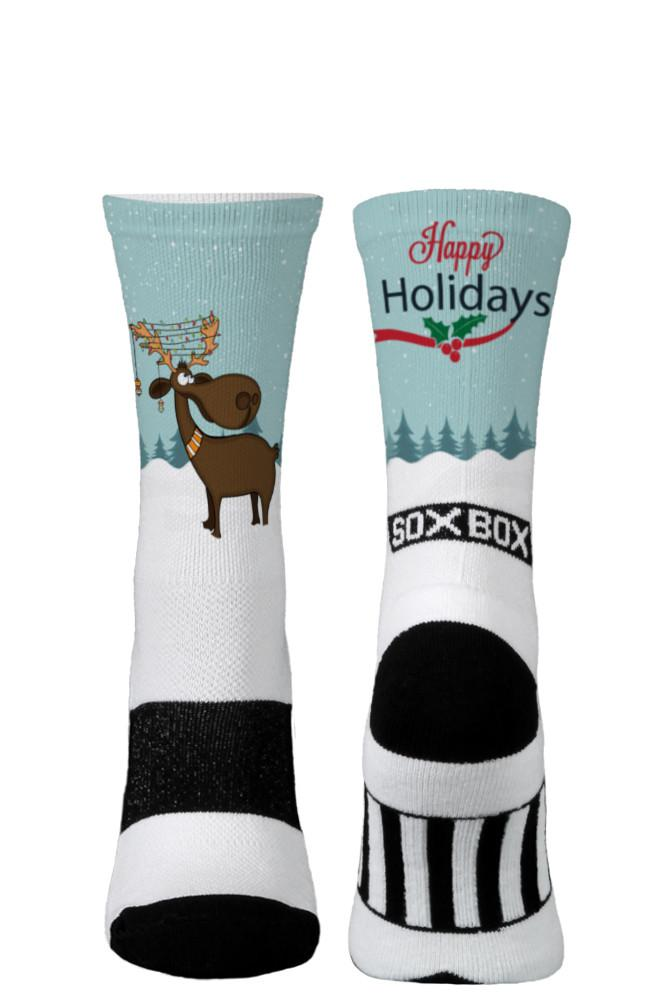 Happy Holiday Moose White Novelty Crew Socks- The Sox Box