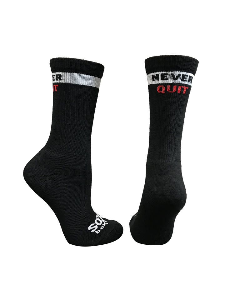 Never Quit Black Athletic Socks - The Sox Box