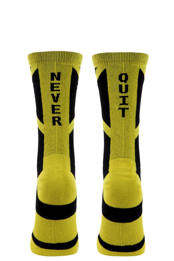 Never Quit Black Performance Crew Socks- The Sox Box
