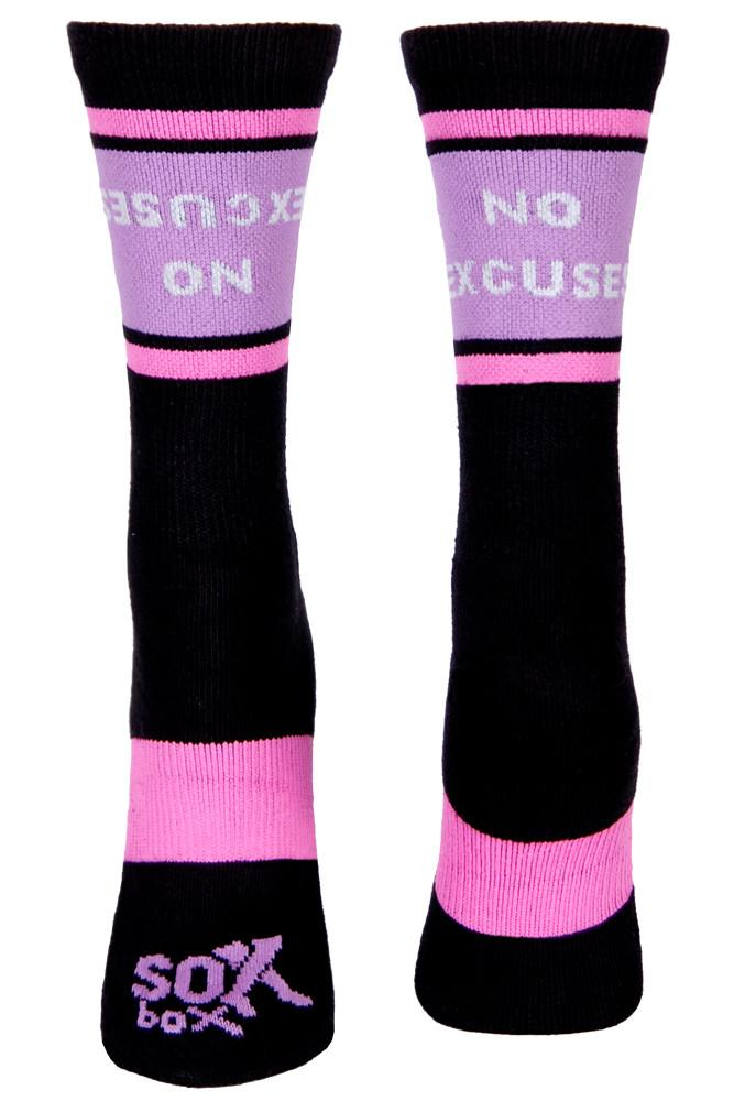 No Excuses Women's Purple Crew Socks- The Sox Box