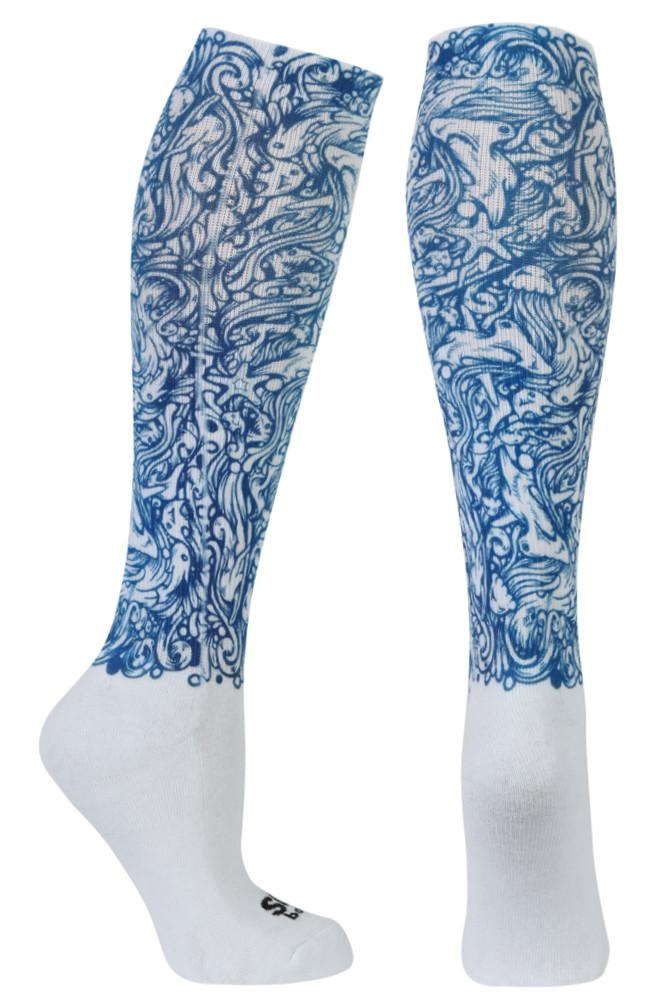 Shark Envy Blue Novelty Knee High Socks- The Sox Box