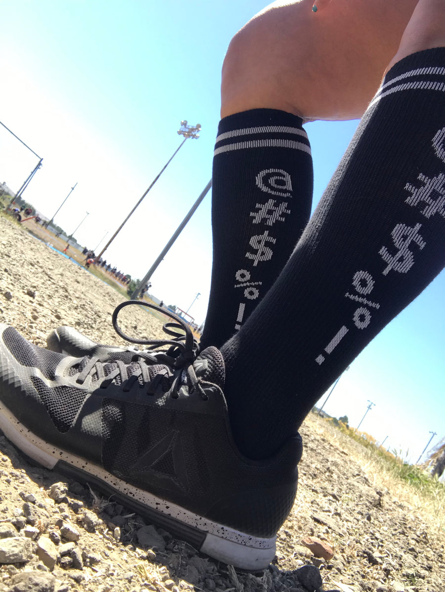 Censored Black Athletic Knee High Socks- The Sox Box