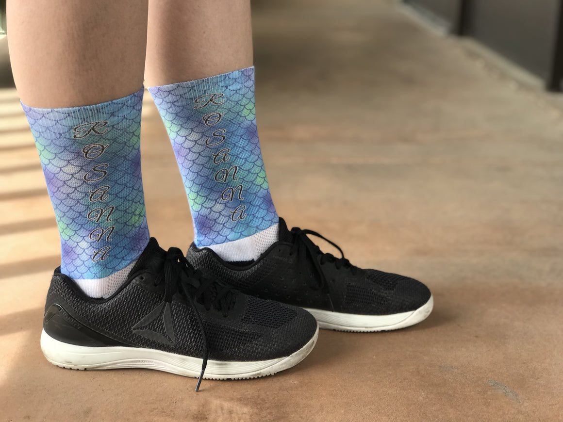 Novelty Custom Aqua Mermaid Socks- The Sox Box