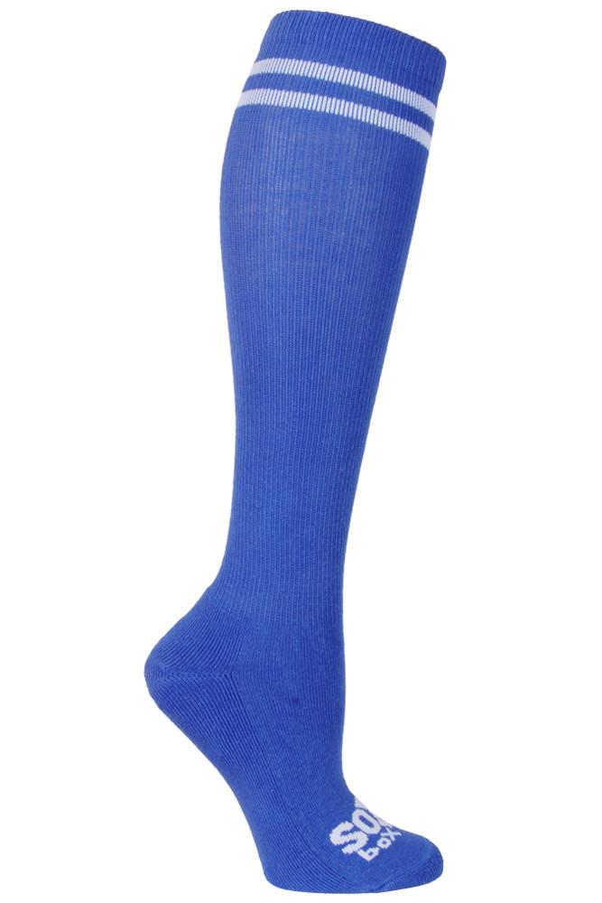 Royal Blue/White Speechless Kneehigh Sox