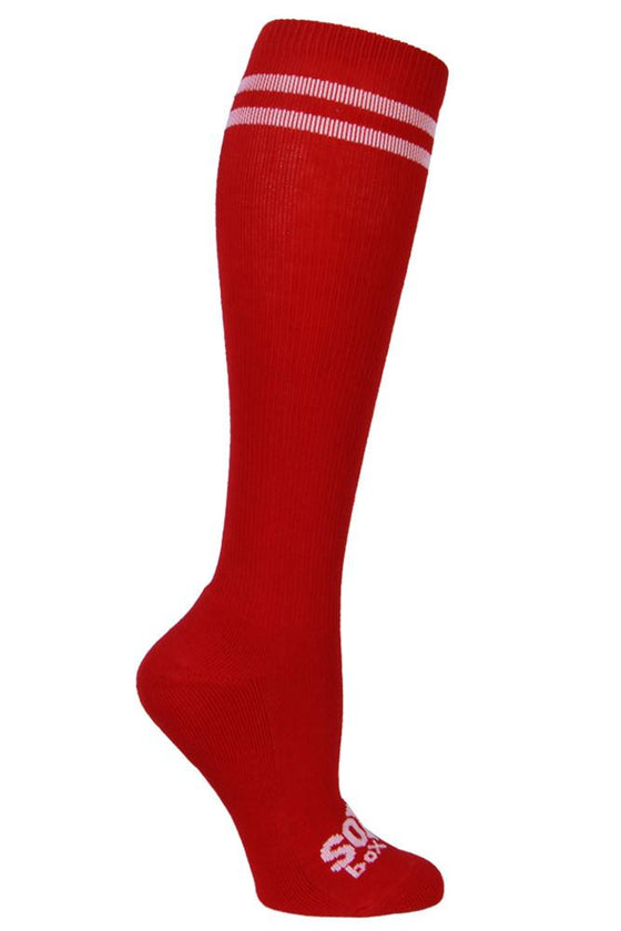 Red/White Athletic Knee High Socks- The Sox Box