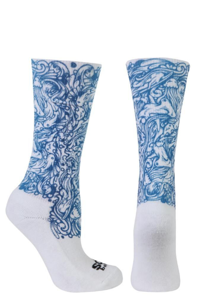 Shark Envy Blue Novelty Crew Socks- The Sox Box