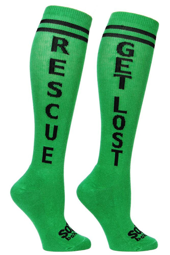 Rescue Get Lost Green Athletic Knee High Socks- The Sox Box