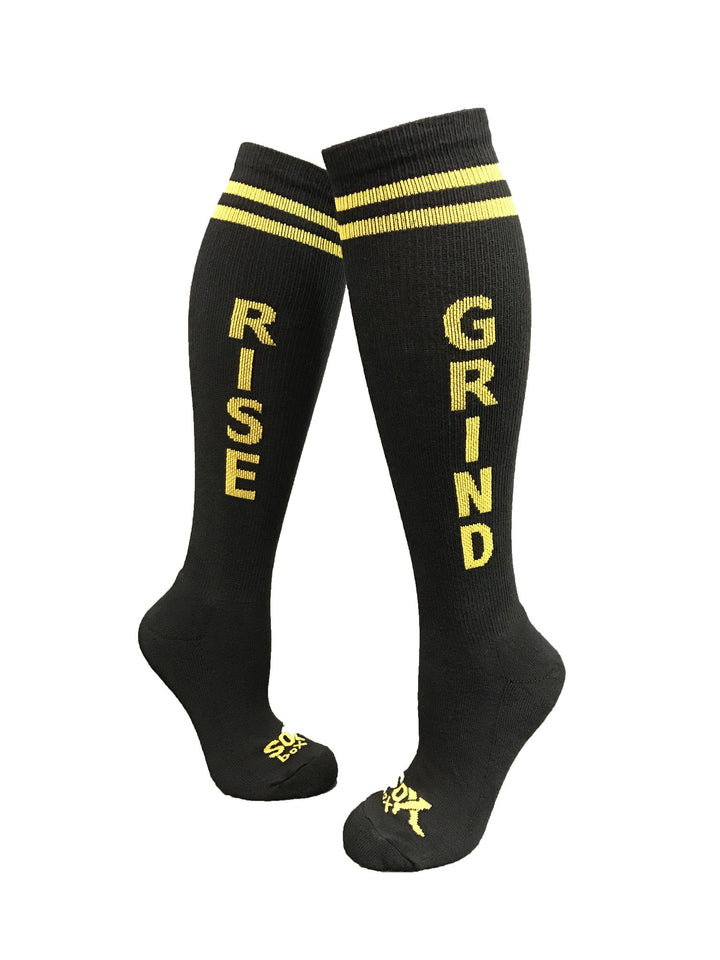 Rise & Grind Black Athletic Knee High Socks- The Sox Box