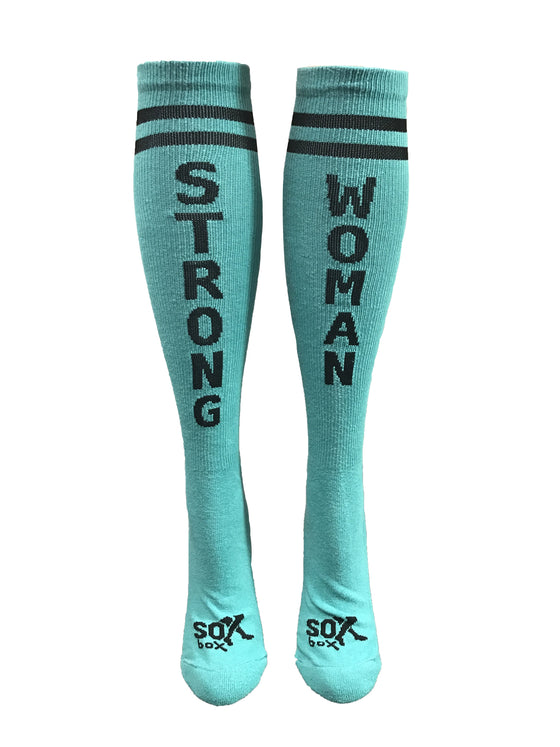 Strong Woman Teal Athletic Knee High Socks- The Sox Box