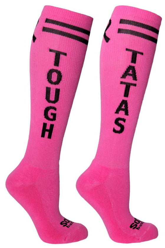 Tough Tatas Women's Pink Athletic Knee High Socks- The Sox Box