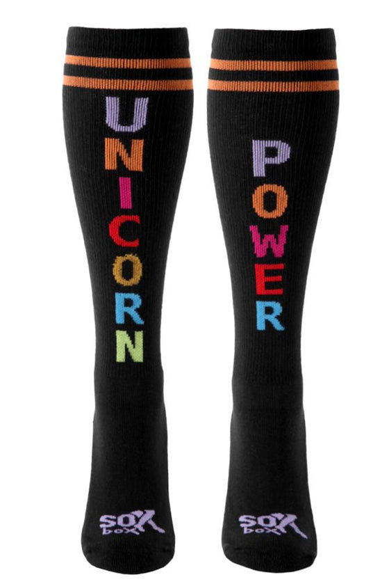Unicorn Power Black Athletic Knee High Socks- The Sox Box