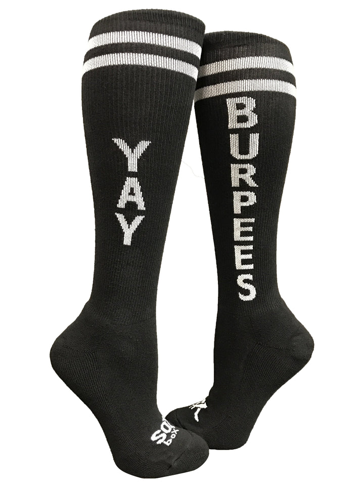 Yay Burpees Black Fun Knee High Sport Socks - The Sox Box