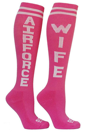 Air Force Wife Pink Women's Knee High Athletic Socks- The Sox Box