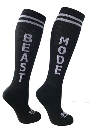 Beast Mode KIDS Black Knee High Athletic Socks - The Sox Box