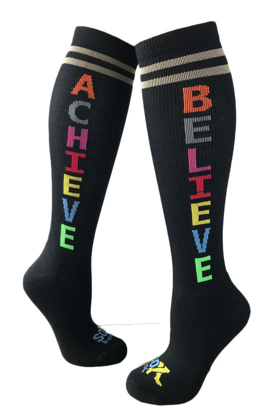 Believe Achieve Black Athletic Knee High Socks- The Sox Box