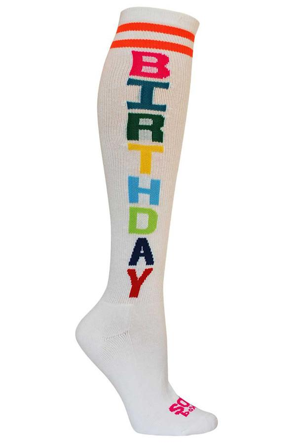 Birthday White Knee High Athletic Socks- The Sox Box