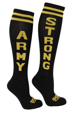 Army Strong Black Knee High Athletic Socks- The Sox Box