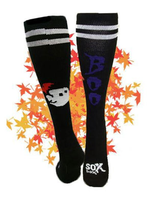Boo! Black Small Athletic Knee High Socks- The Sox Box