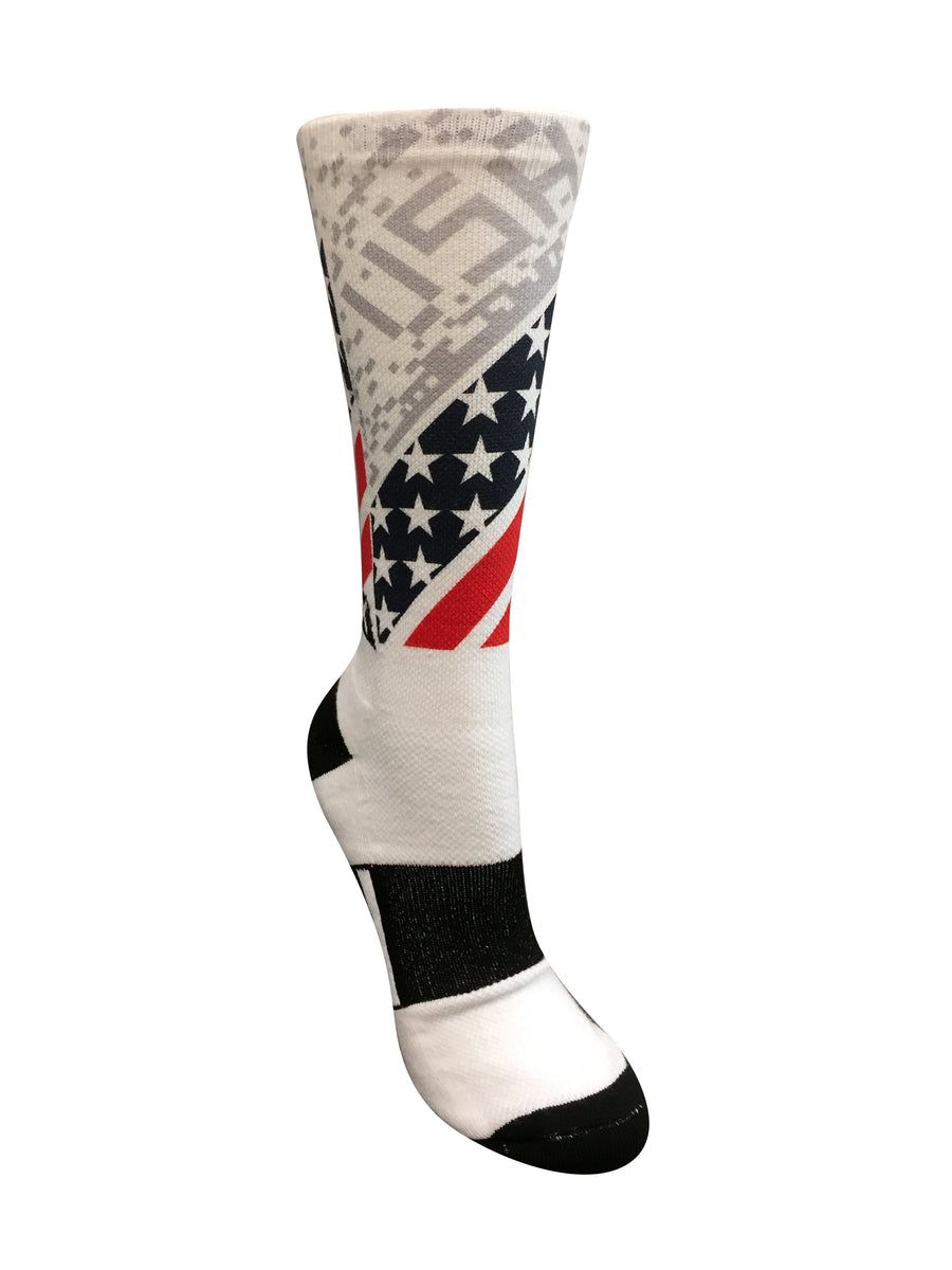 USA All The Way! White Novelty Crew Socks- The Sox Box