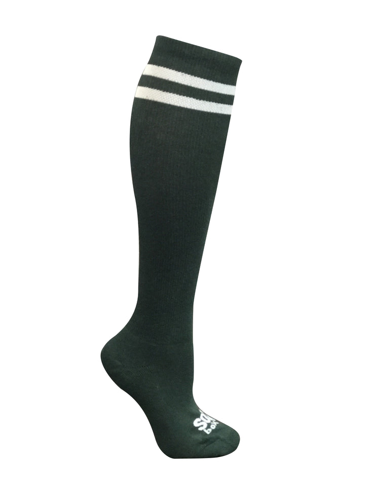 Hunter Green Striped Knee High Athletic Socks - The Sox Box