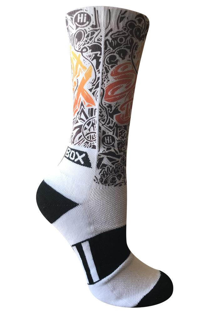 Tagged by Sox Box White Novelty Crew Socks- The Sox Box