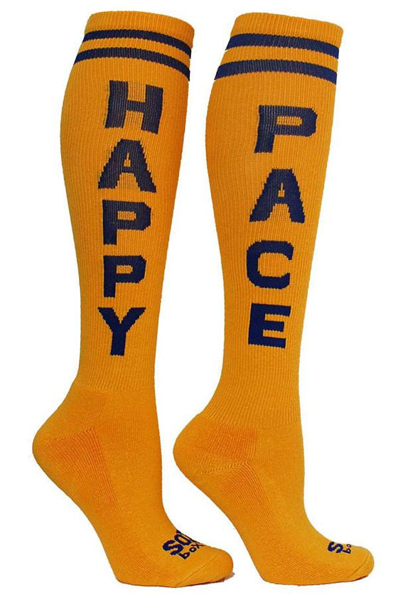 Happy Pace Yellow Athletic Knee High Socks- The Sox Box