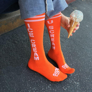 Ice Cream U Scream Kids Orange Athletic Knee High Socks- The Sox Box