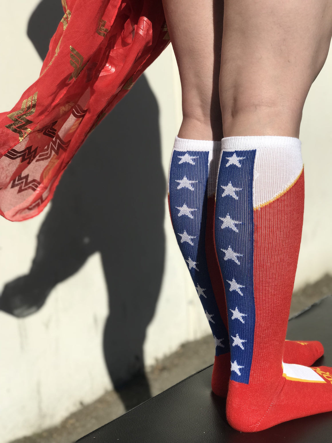 American Woman Red Boot Knee High Athletic Socks -The Sox Box