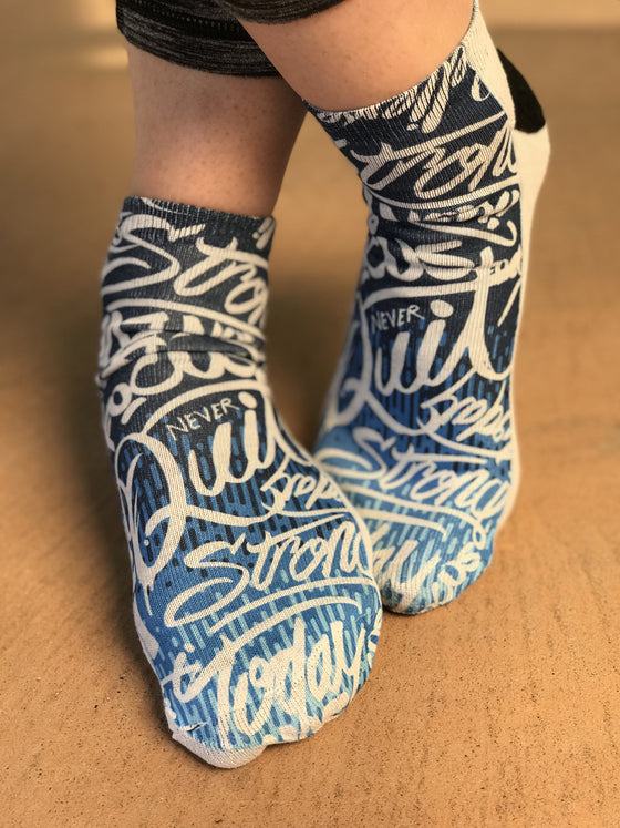 Highly Motivated Blue Crazy Ankle Socks - The Sox Box