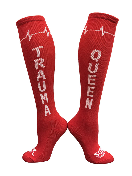 Trauma Queen Red Athletic Knee High Socks- The Sox Box