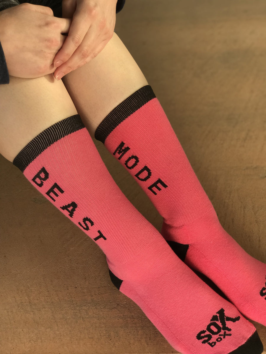 Beast Mode Pink Athletic Crew Socks for Women - The Sox Box