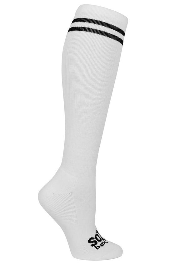 White Striped Knee High Athletic Socks - The Sox Box