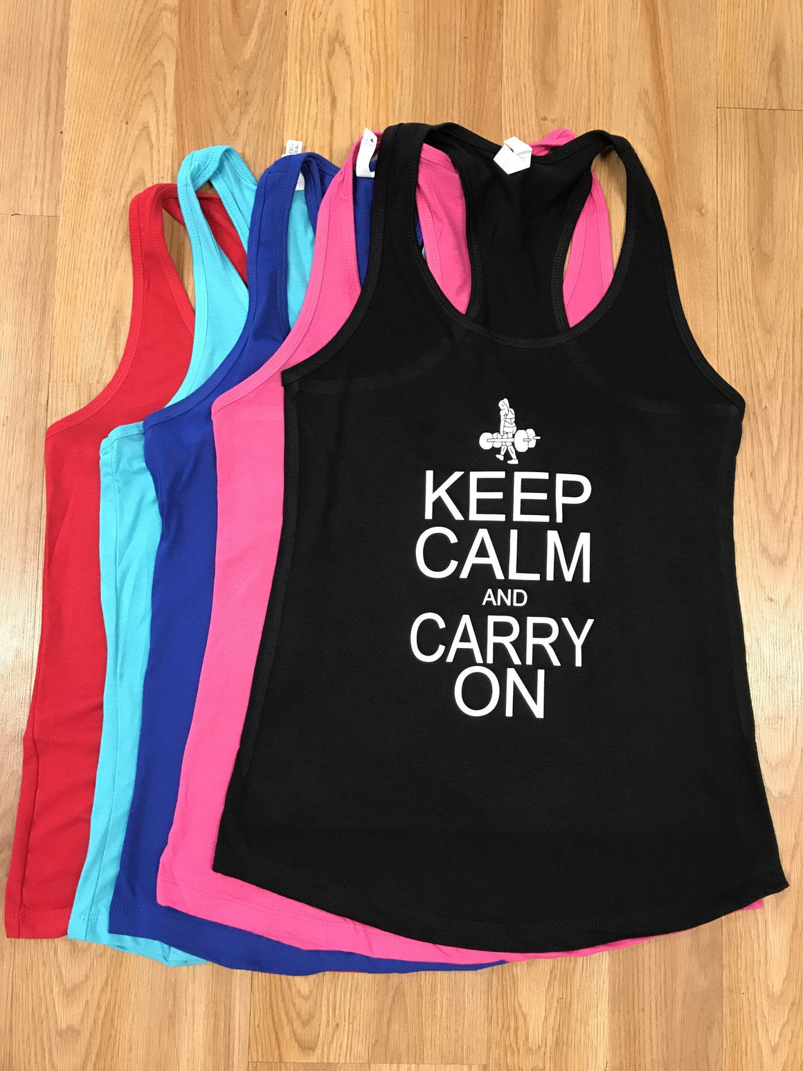 Keep Calm Carry On Women's Workout Racerback Tank- The Sox Box