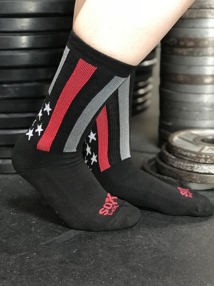 Firefighter Thin Red Line Black Athletic Crew Socks- The Sox Box