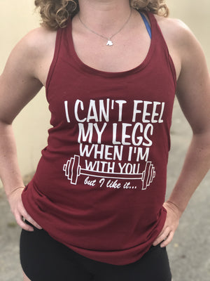 Can't Feel My Legs Women's Workout Racerback Tank- The Sox Box