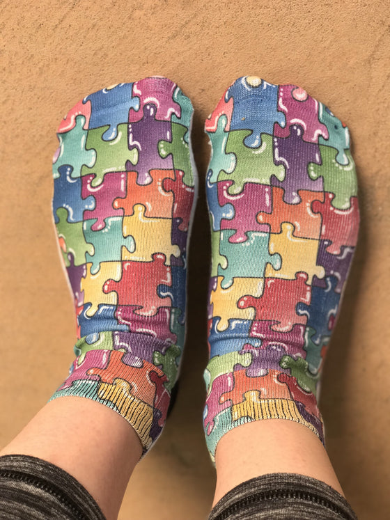 Puzzle Multicolor Fun Ankle Socks - The Sox Box