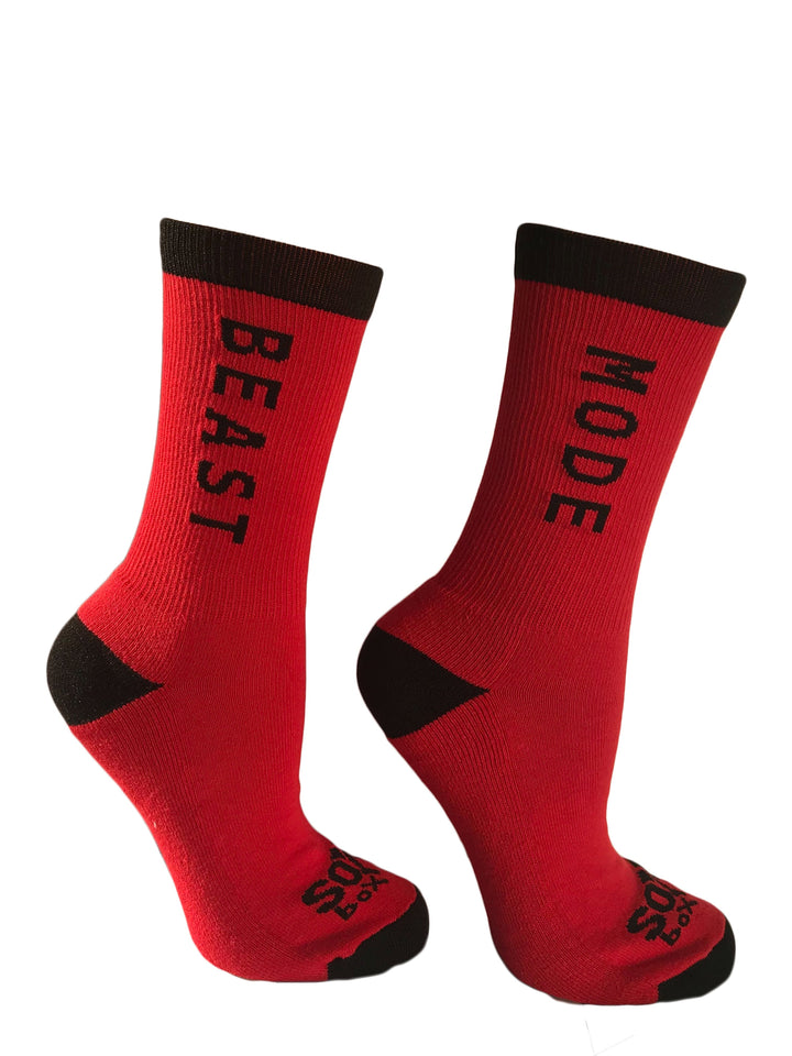 Beast Mode Red Athletic Crew Socks - The Sox Box