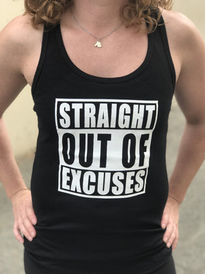 Straight Out Of Excuses Women's Workout Racerback Tank- The Sox Box