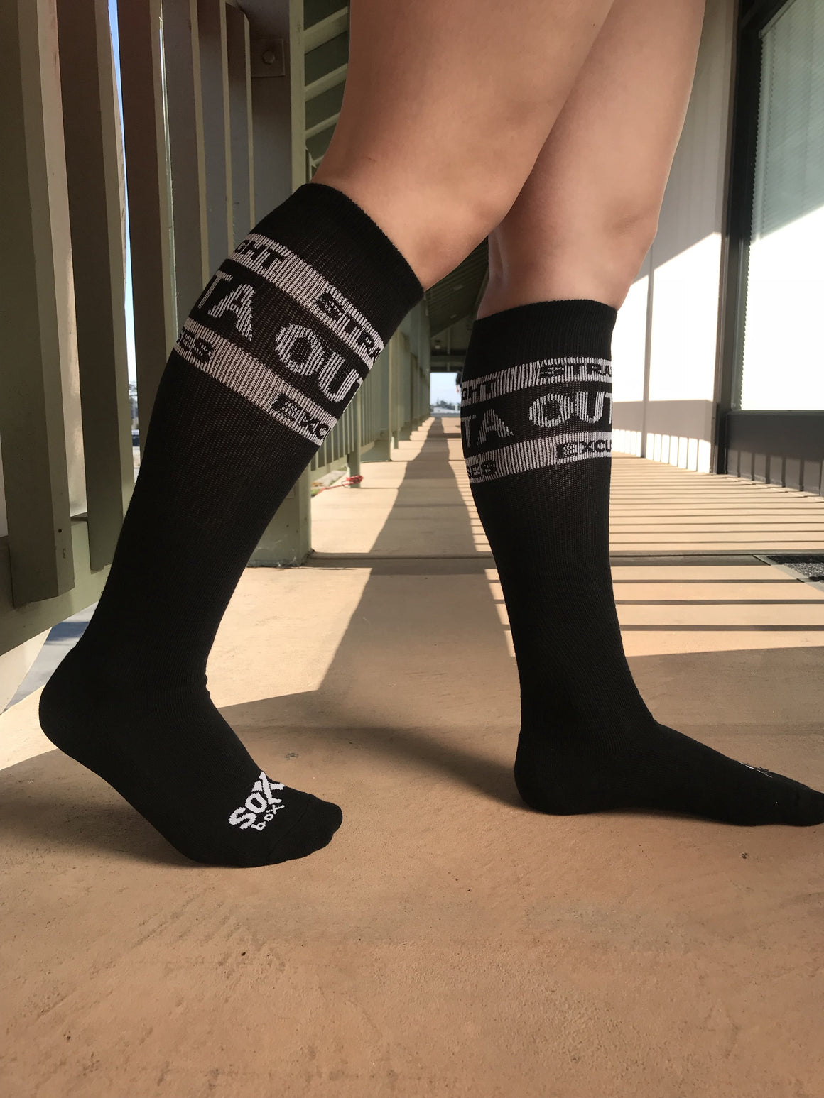 Straight Outta Excuses Black Fun Athletic Knee High Socks - The Sox Box